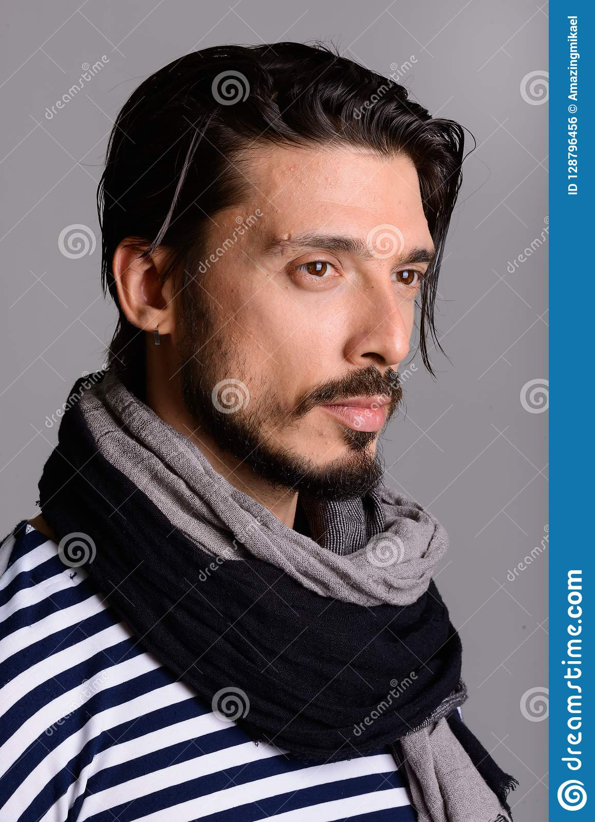 0c9785d6c Face Of Handsome Man Thinking Against Gray Background Stock Photo ...