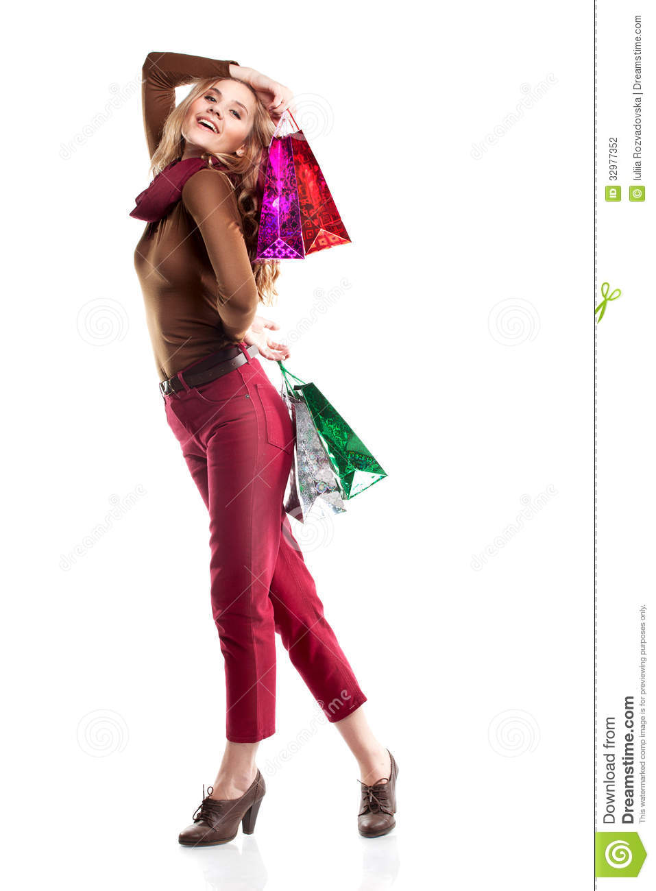 Studio Shot Of Beautiful Girl Is In Fashion Style With Shopping Stock Photography Image 32977352