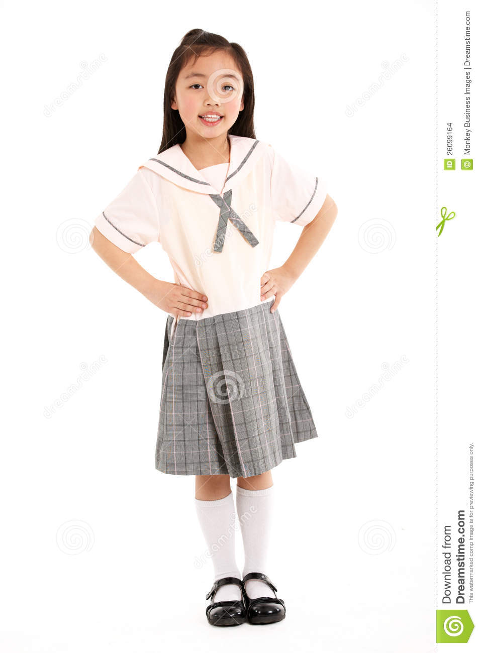 Studio Shot Of Chinese Girl In School Uniform Stock Images - Image ...