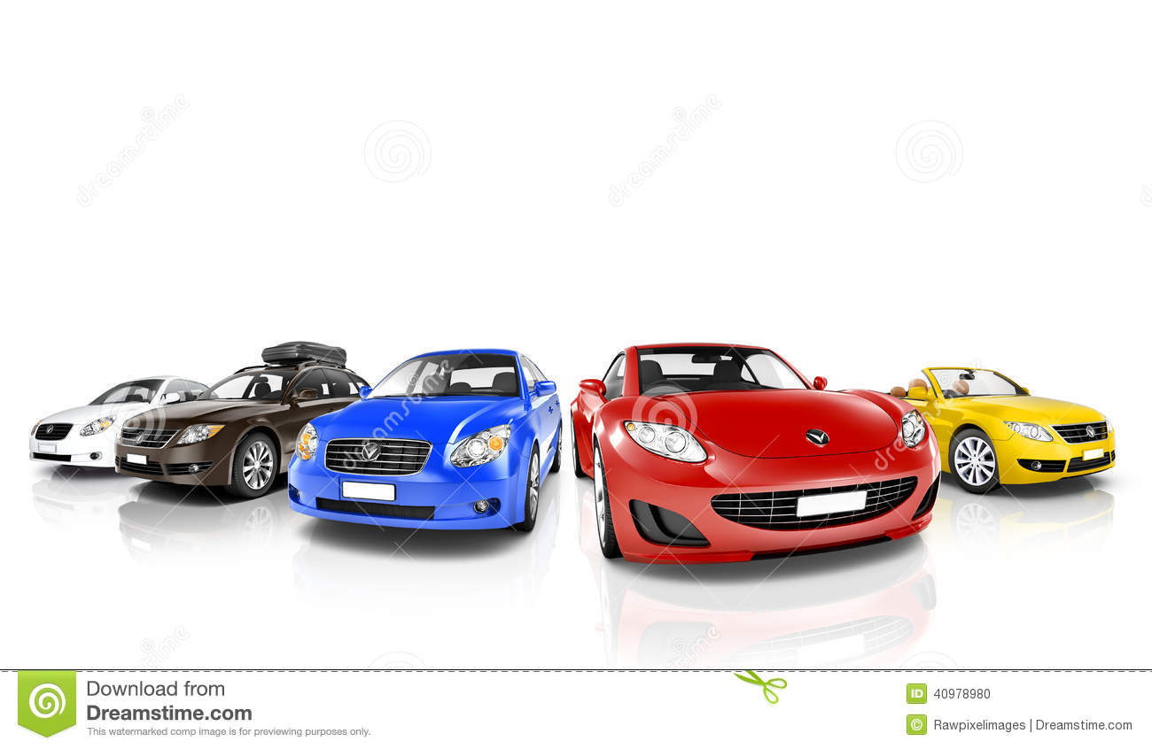 Studio Shot Of Colorful Cars In A Row Stock Photo Image