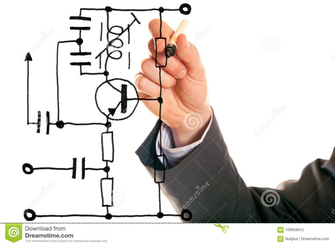 Electrical Engineering Concept Stock Image Of Whiteboard Drawing Electric Circuits