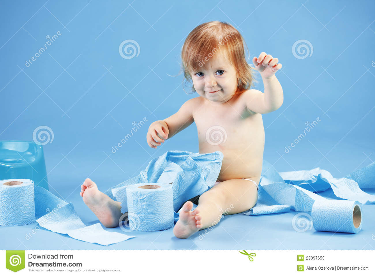 Cute toddler on potty chait stock photos image 29897653 for Toddler sitting chair