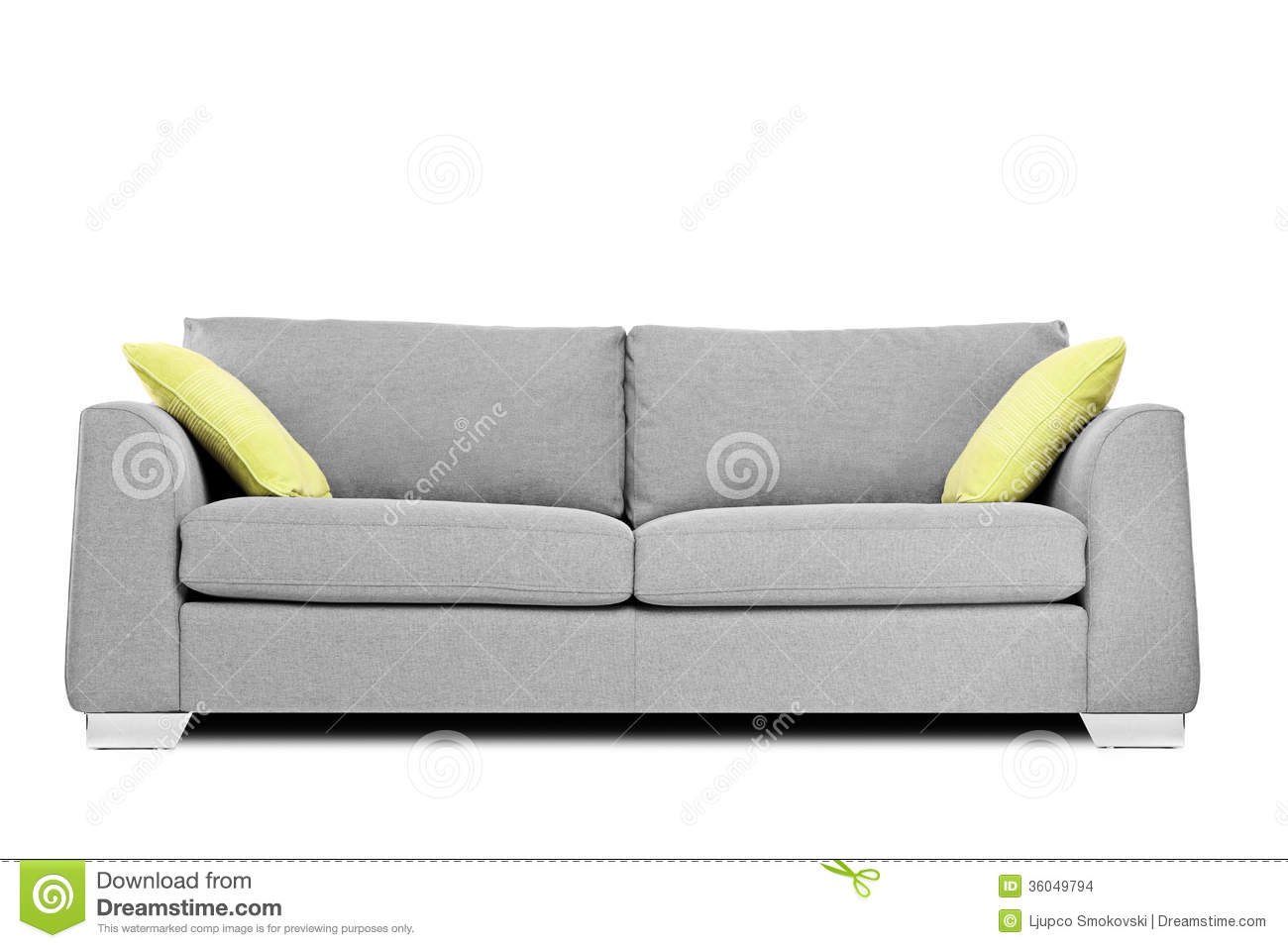Modern Family Pillows On Couch : Studio Shot Of A Modern Couch With Pillows Stock Images - Image: 36049794
