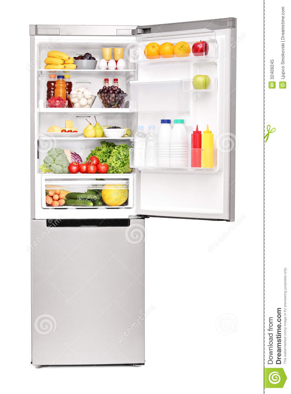 Studio shot of an open fridge full of healthy food products