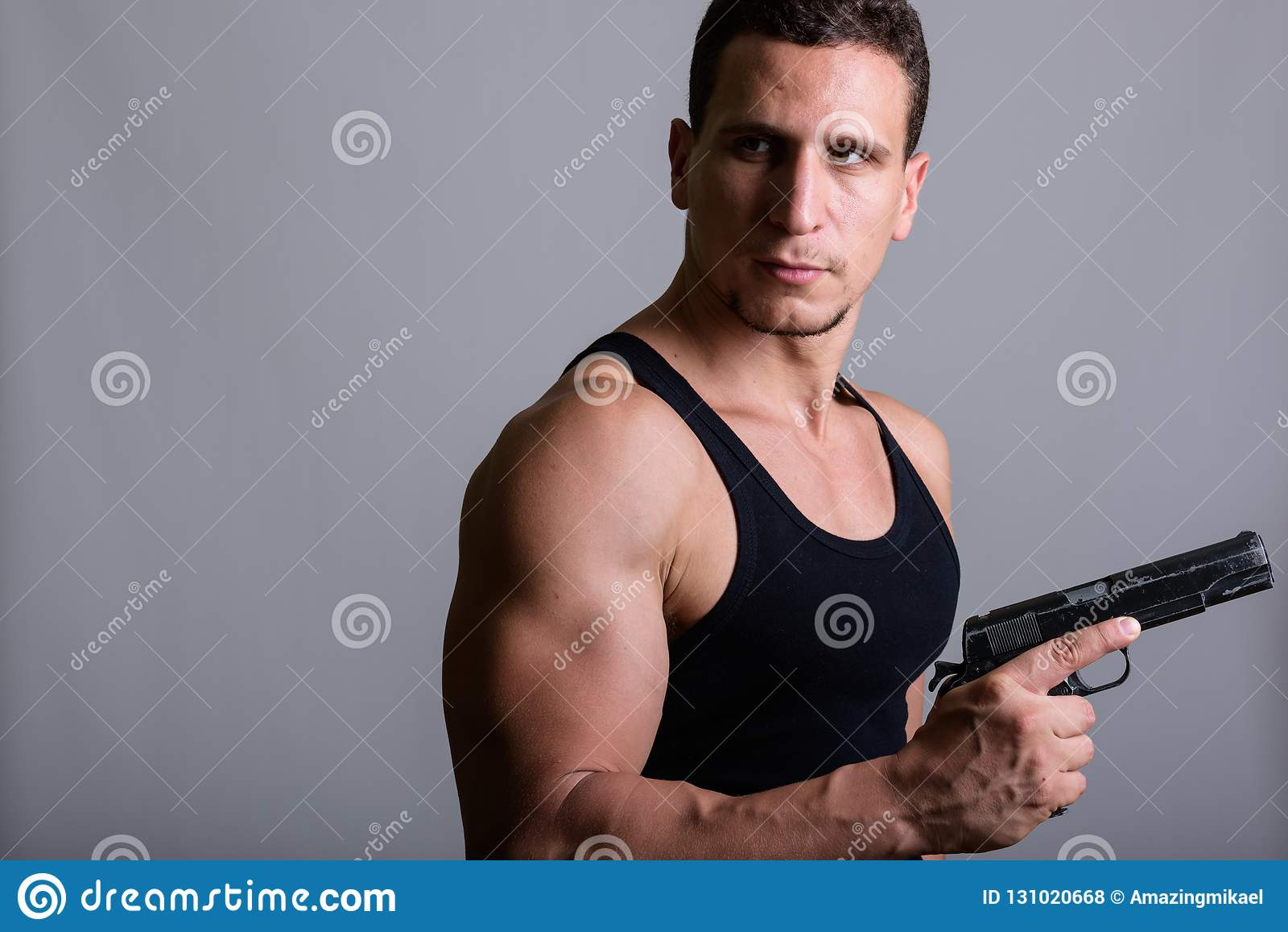 Men Military Shirtless Gun Stock Photos, Pictures