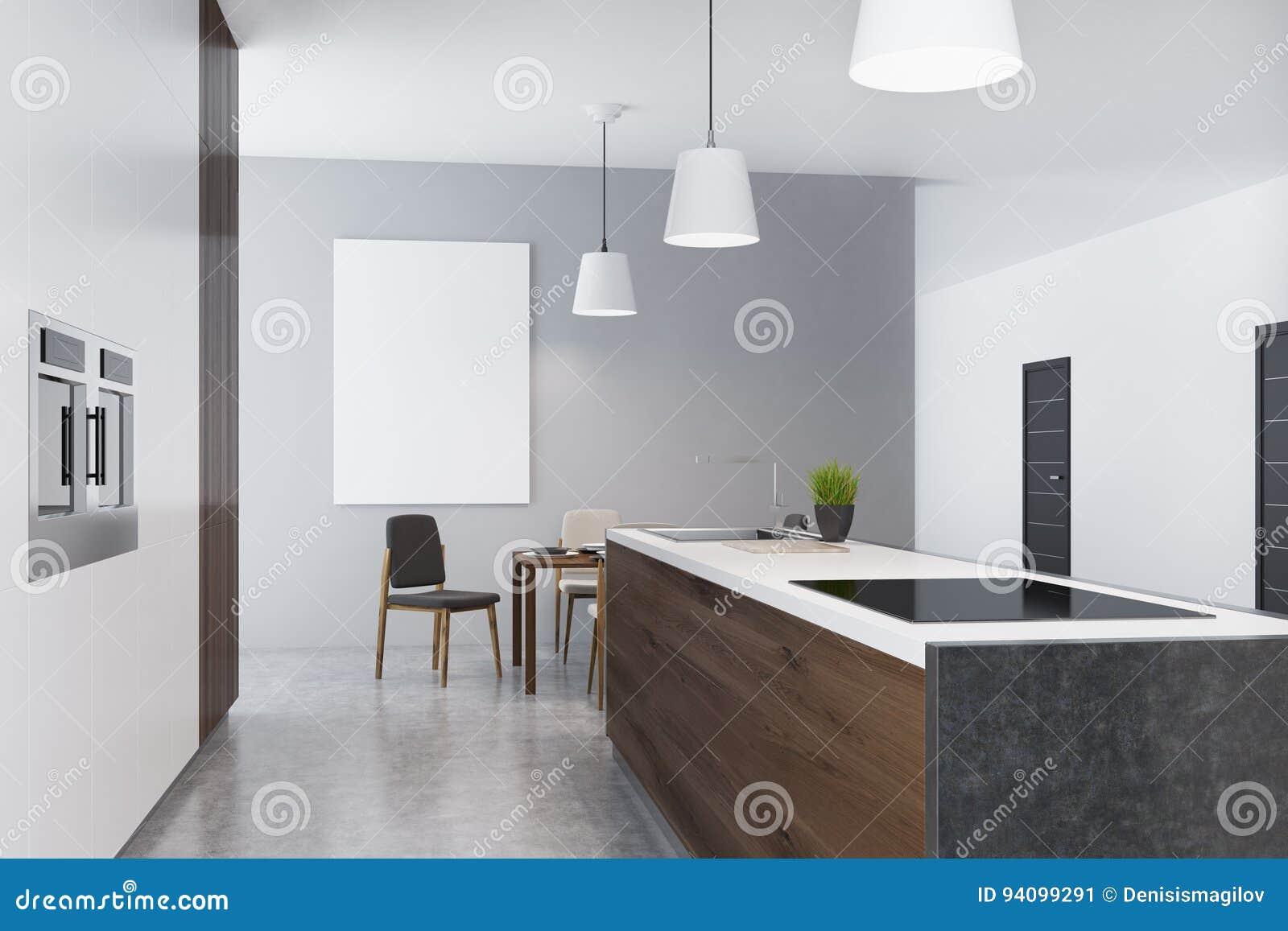 Studioküche Und Esszimmer Mit Plakat, Seite Stock Abbildung ...