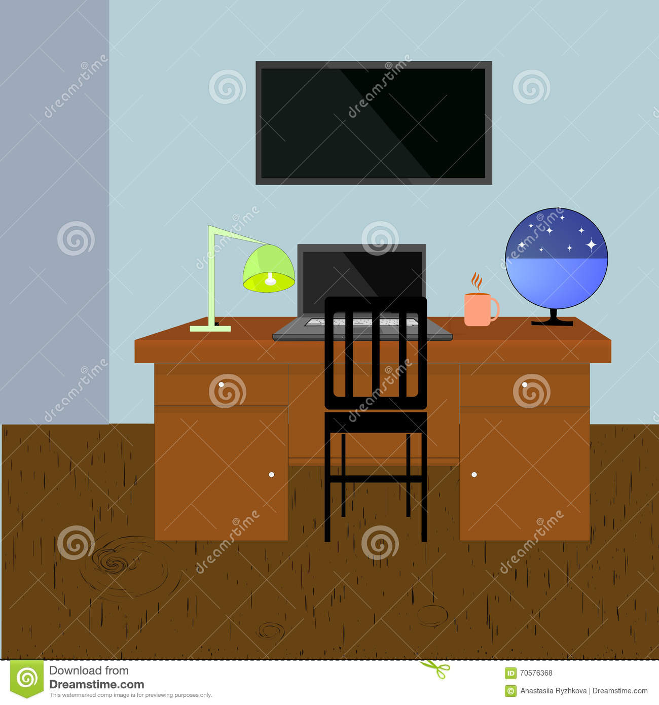 Vector wood table with wall room interior design cartoon for Table design vector