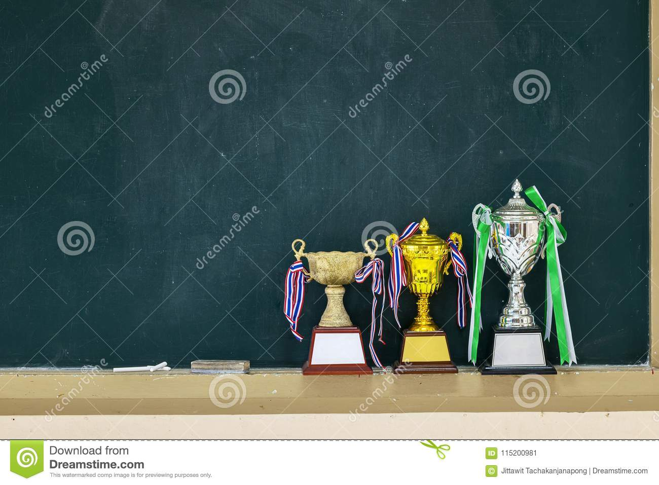 Received many trophies put on a blackboard