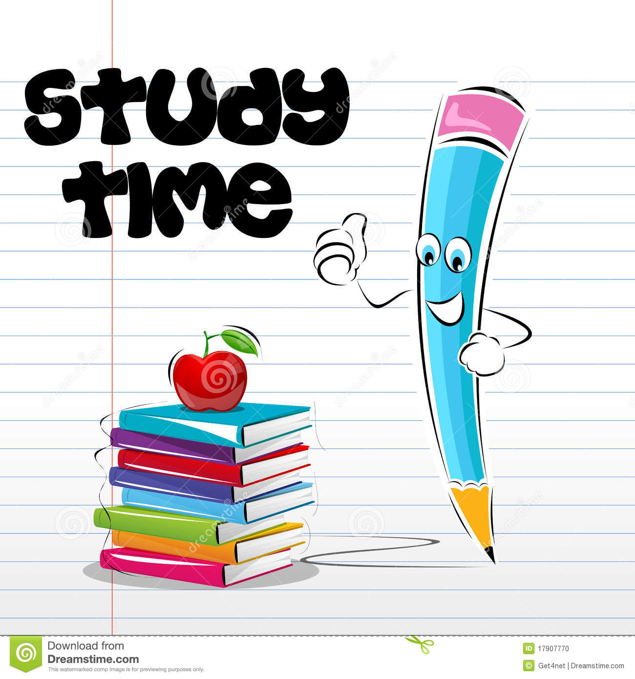 Illustration of study time card with apple book and pencil on notebook ...