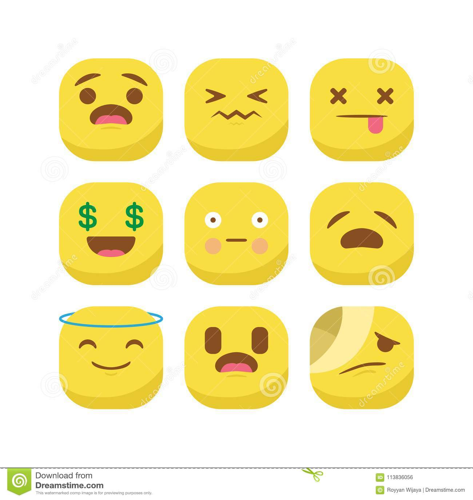 Cute emoji emoticon reaction expression smiley set vector isolated