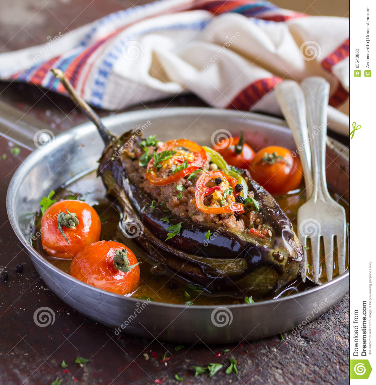 Aubergine Cuisine Of Stuffed Eggplant Or Aubergine With Minced Meat Stock Photo