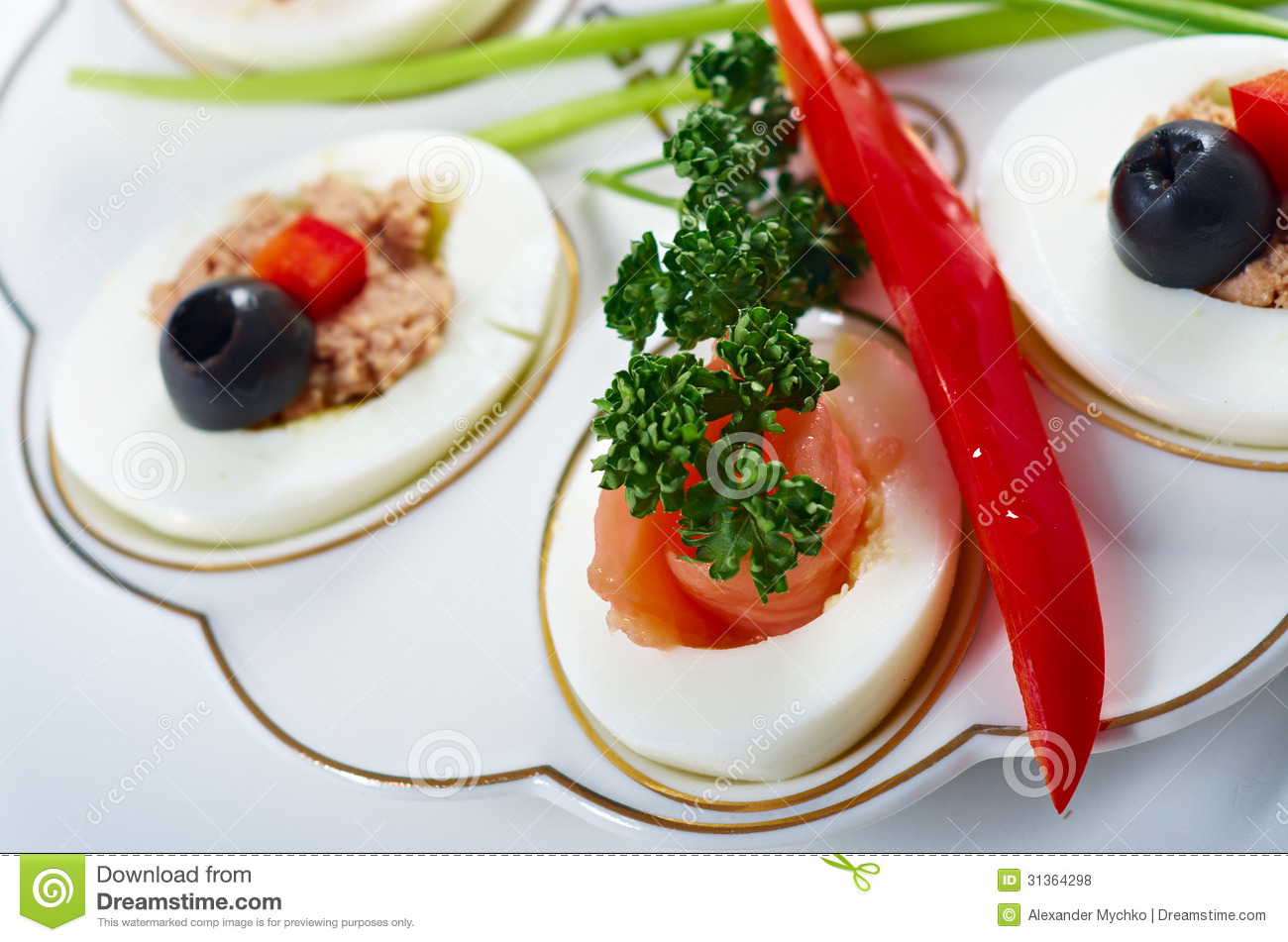 Stuffed eggs with salmon royalty free stock photos image for Breakfast canape