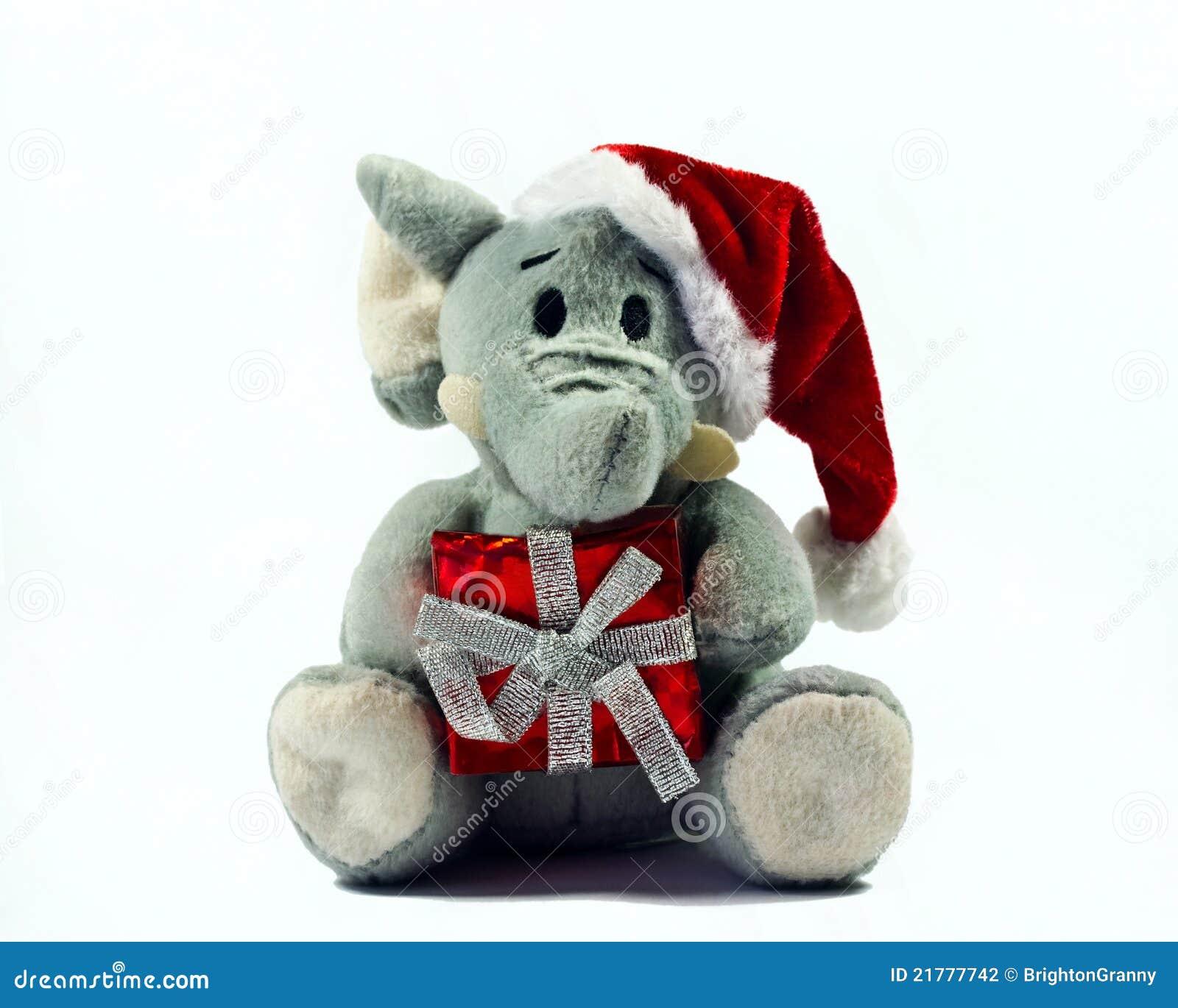 Elephant Toy Wearing Santa Hat Stock Photo Image Of Ribbon