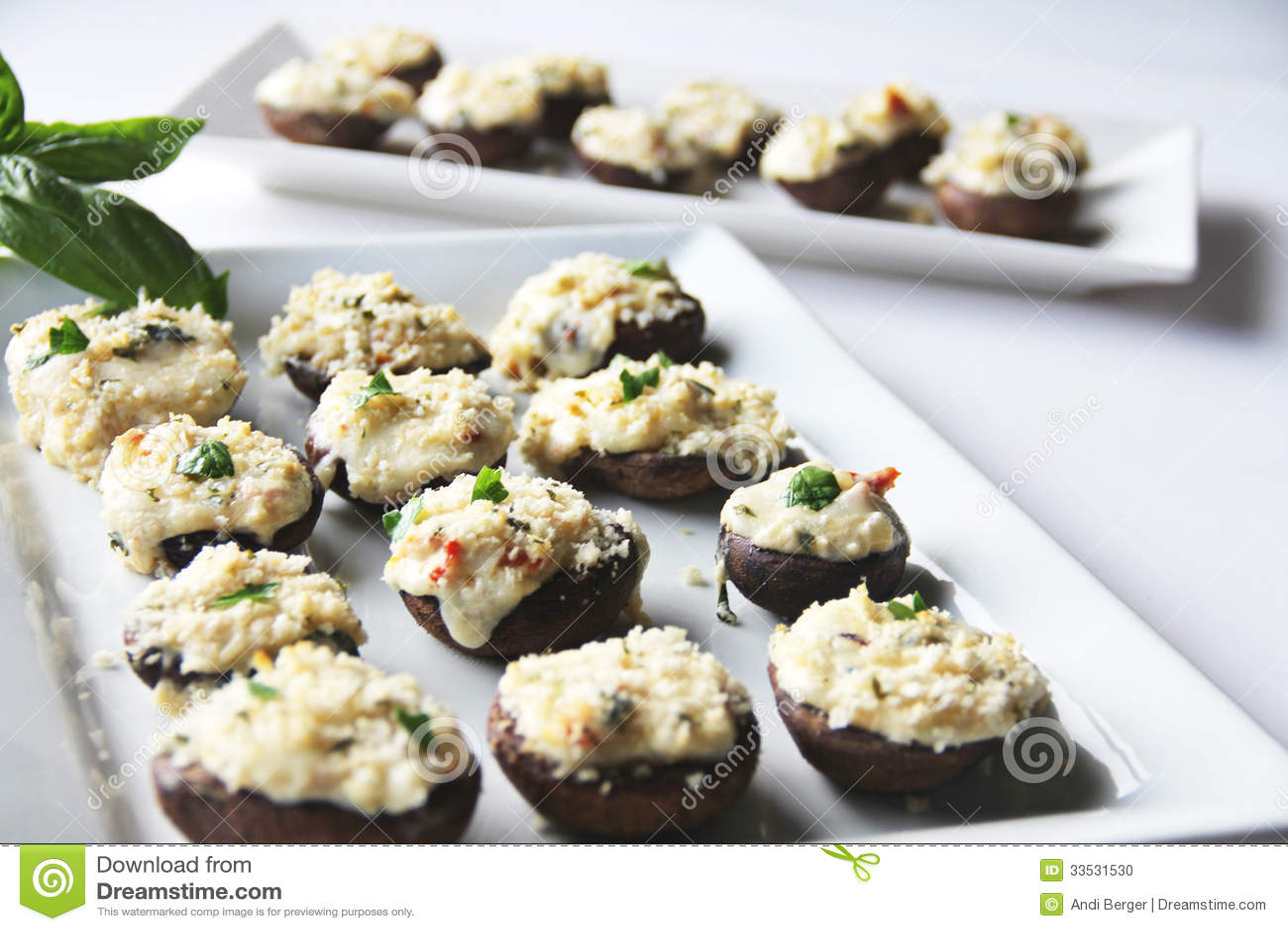 Stuffed Mushrooms Caprese Stock Photo - Image: 33531530