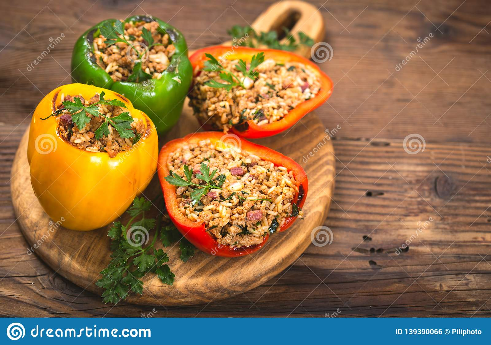 Stuffed peppers with meat and rice