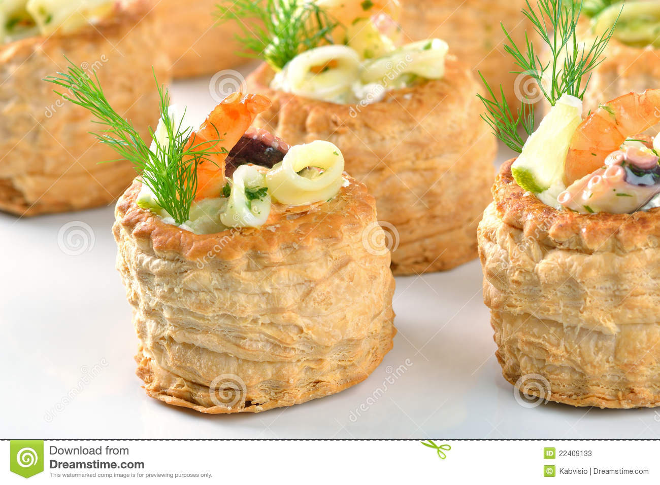 Stuffed puff pastry shells stock photos image 22409133 for Canape pastry shells