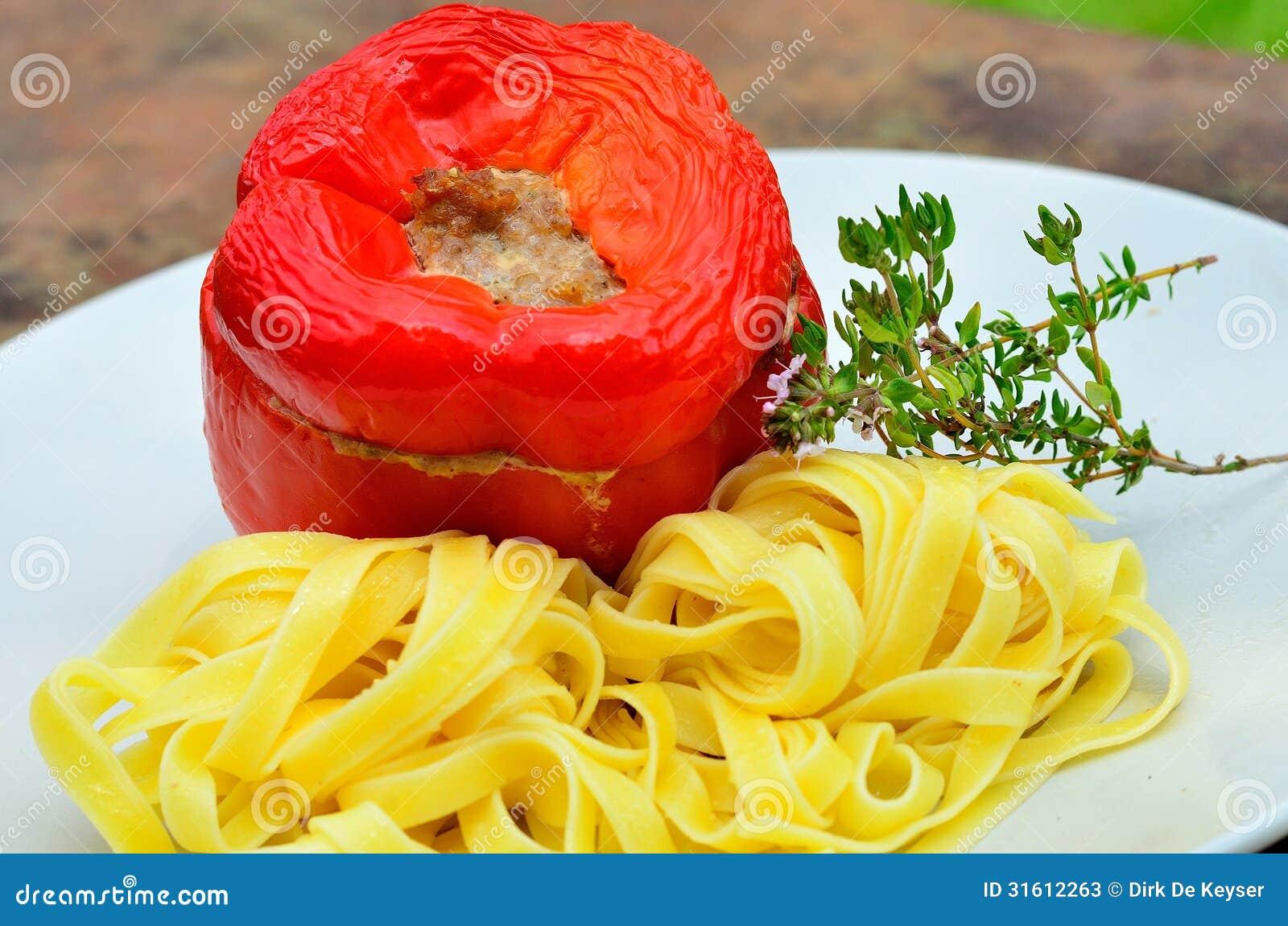 Stuffed red peppers tri colori