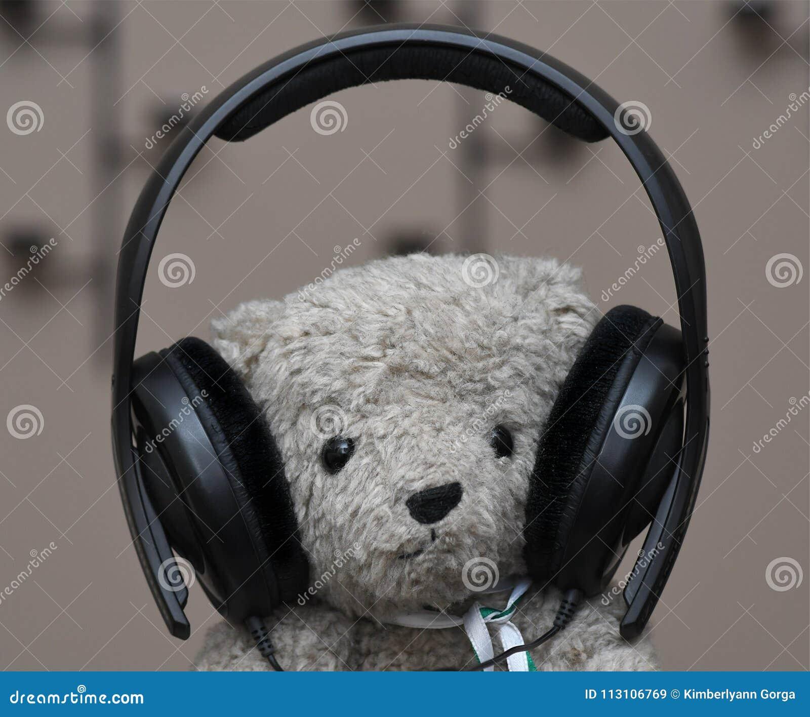 Stuffed Teddy Bear with headphones
