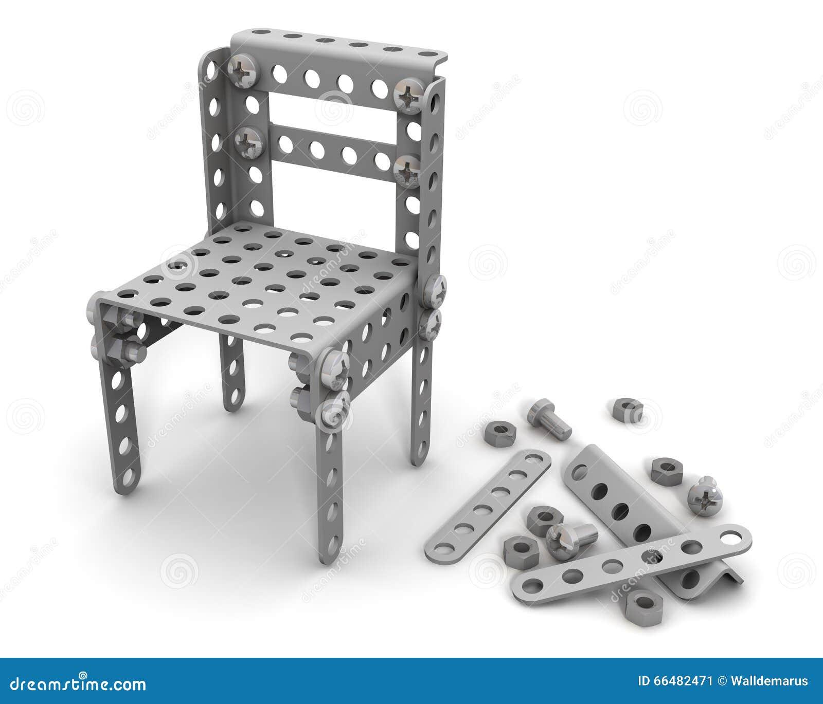 stuhl zusammengebaut vom bausatz der kinder stock abbildung
