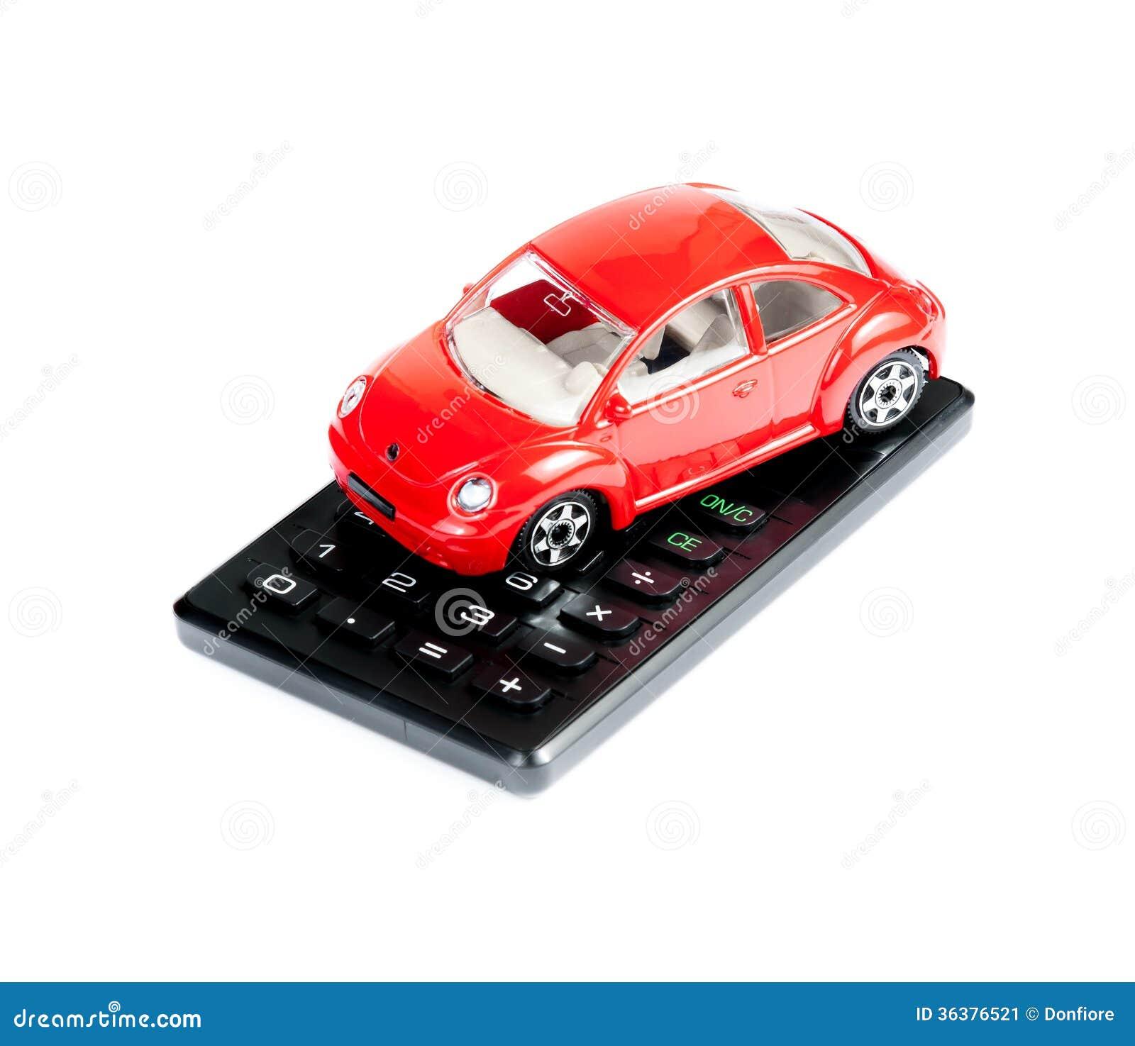 Stuk Speelgoed Auto En Calculatorconcept Voor Verzekering Het Kopen