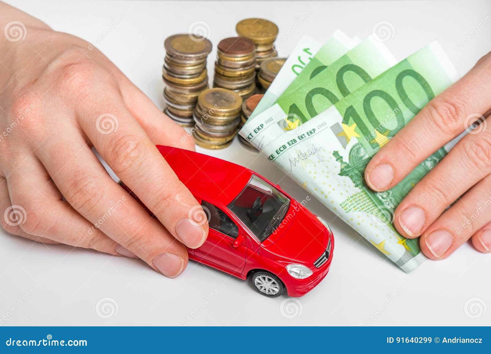 Stuk Speelgoed Auto En Euro Geld Verzekering Huur En Het Kopen