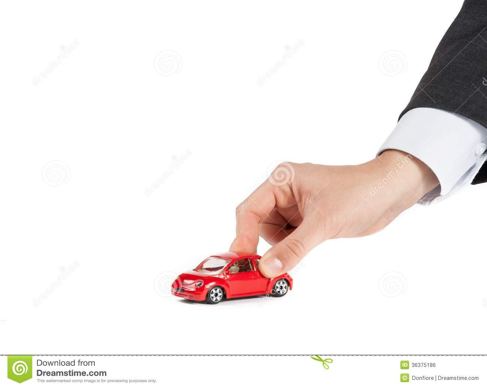 Stuk Speelgoed Auto En Hand Van De Mens Concept Voor Verzekering