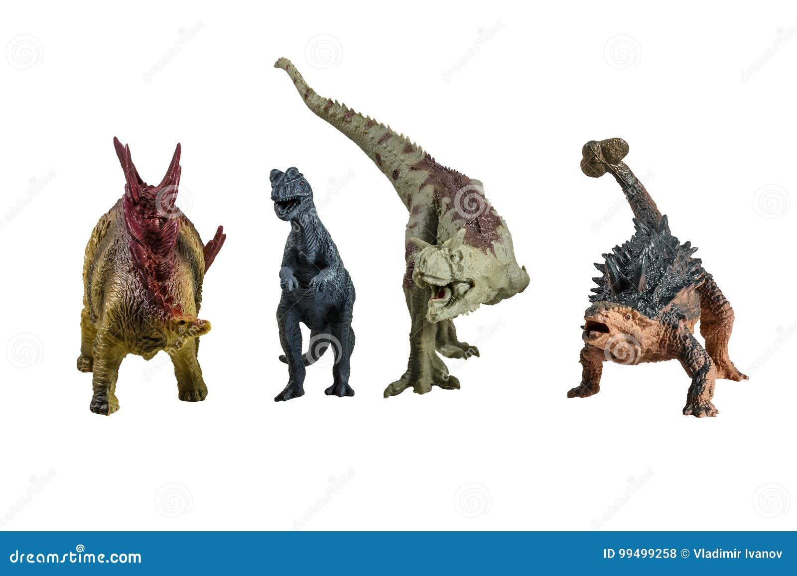 Stuk speelgoed modellen van dinosaurussen
