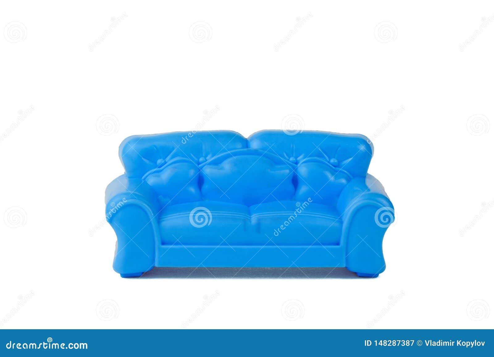 Stuk speelgoed moderne blauwe mooie die bank op witte achtergrond wordt ge?soleerd minimalism