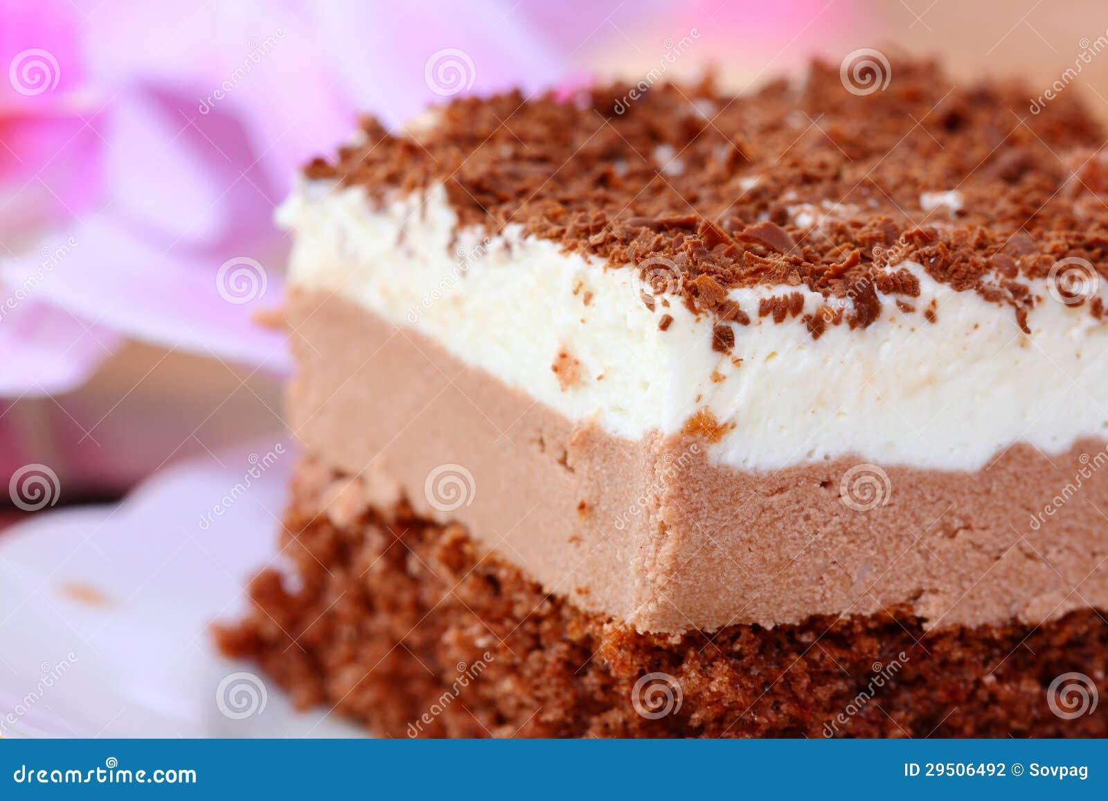 Stuk van chocoladecake