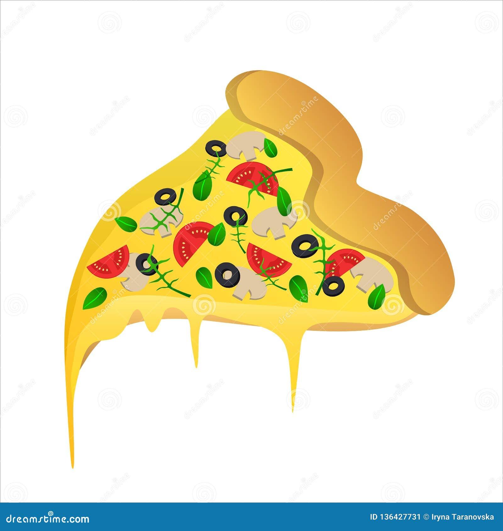Stuk van vegetarische pizza met olijf en kaas