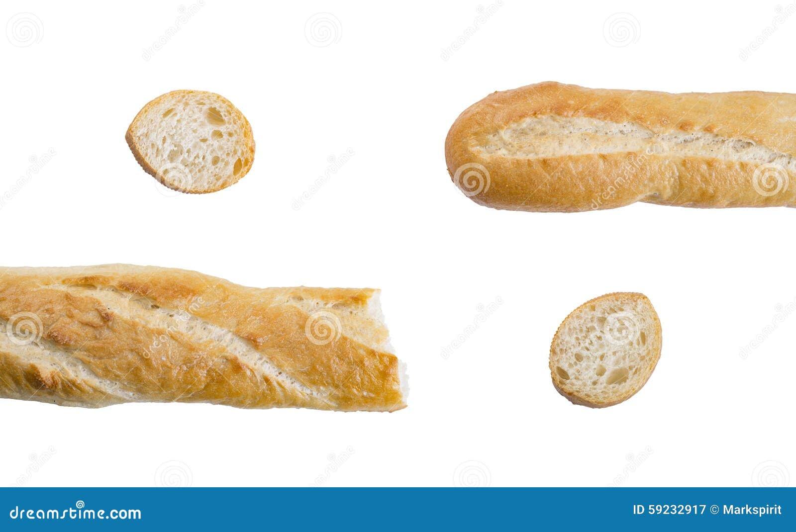 Stukken van lange brood of baguette op witte achtergrond