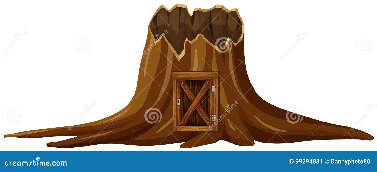 Stumpfbaum mit Holztür