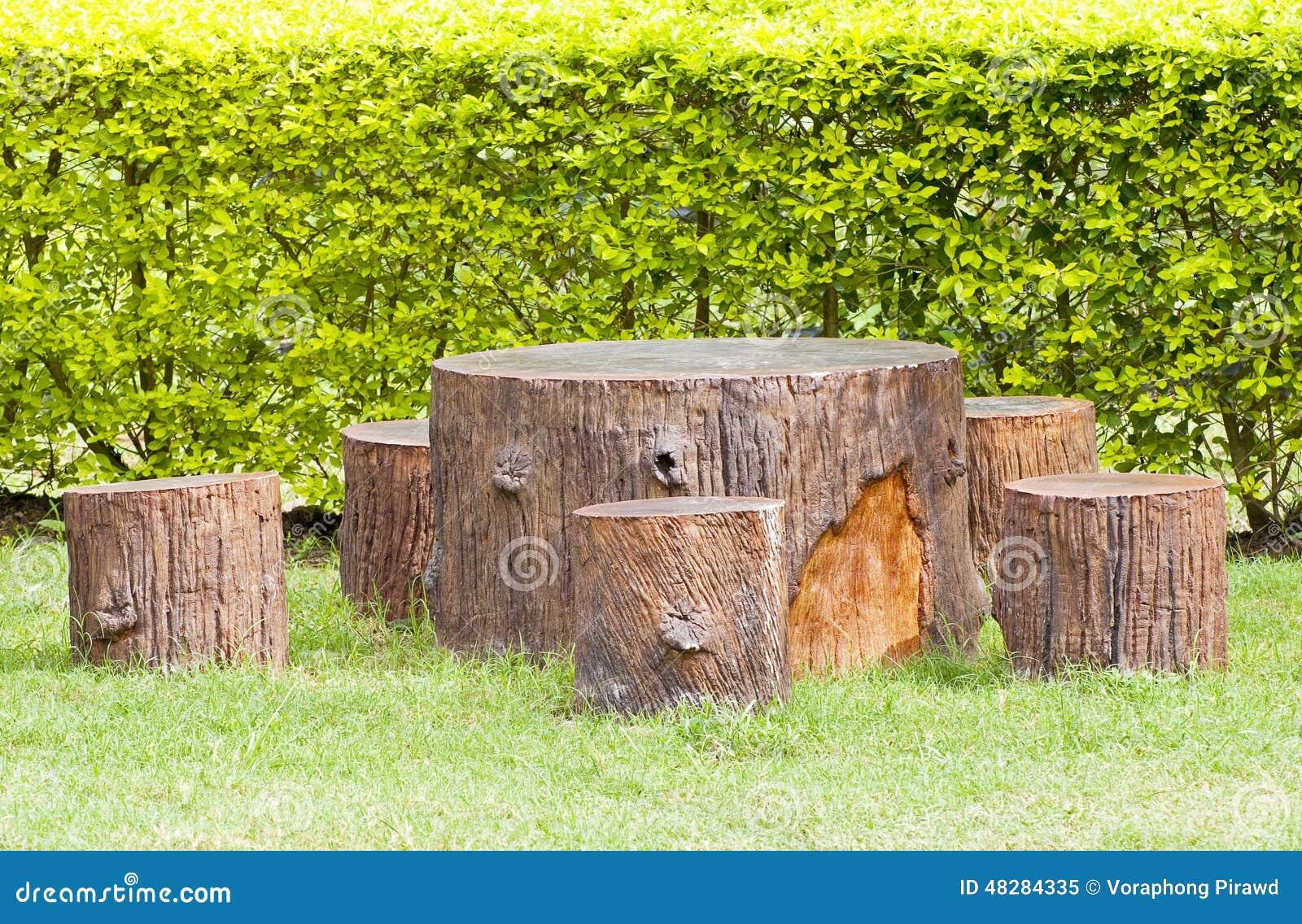 Tree Stump Seats Stumps Seats In The Garden Stock Photo Image 48284335