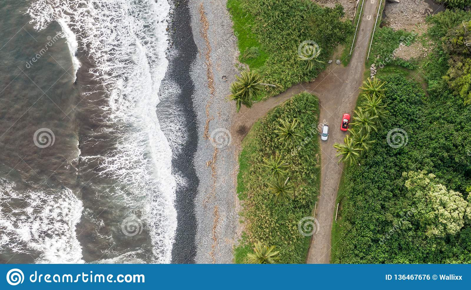 Stunning aerial drone view of a section of the famous Hana Highway south of Hana on the eastern side of the island of Maui, Hawaii