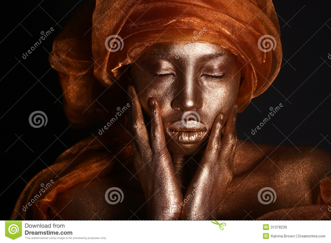 Stunning African Amercian Woman Painted With Gold