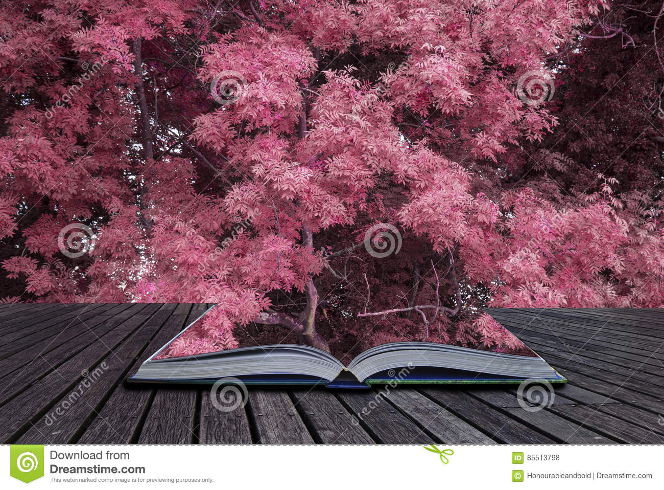 Stunning alternate vibrant colorful forest landscape tree conceptual image coming out of pages of book