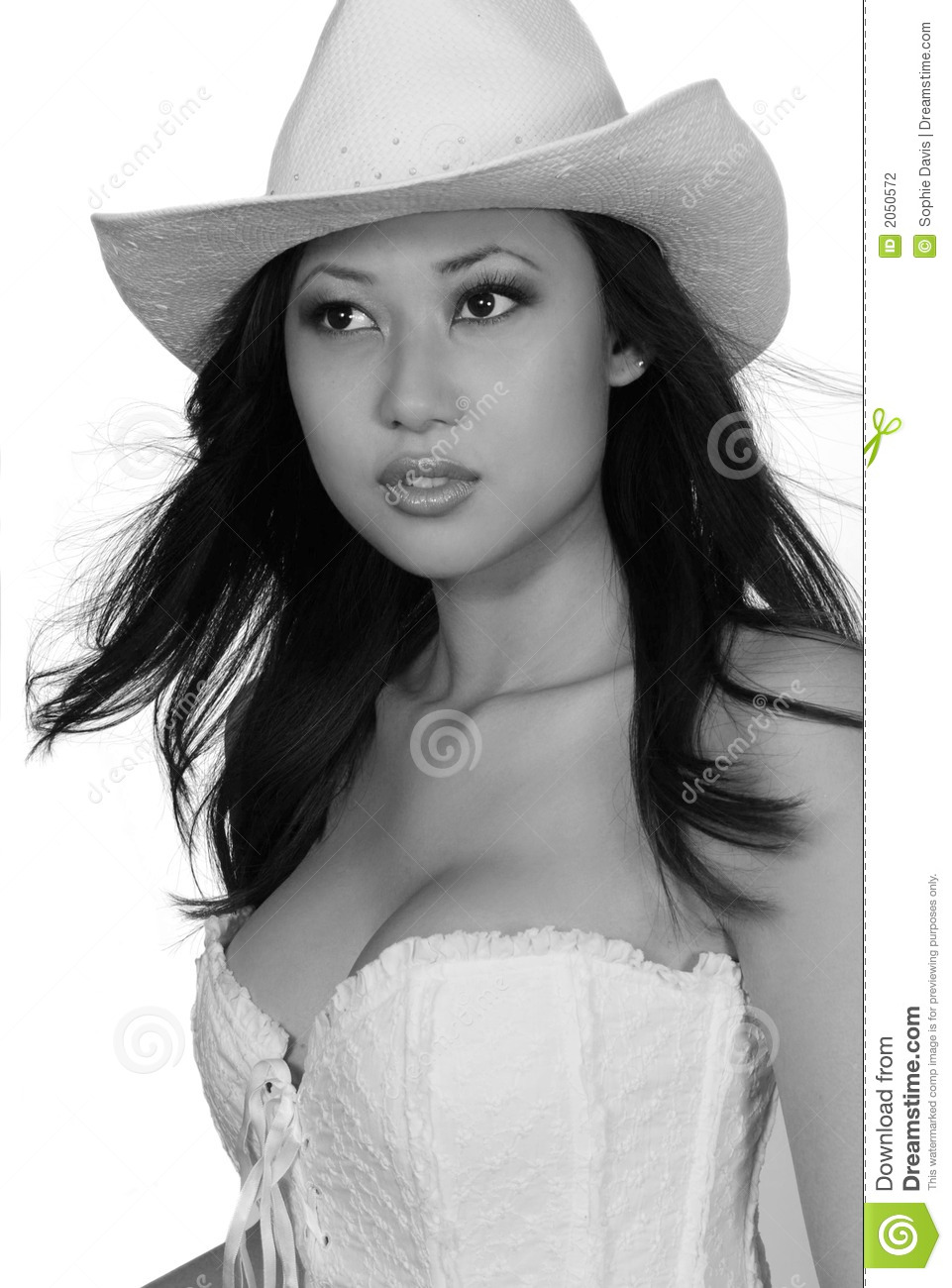 Black and White portrait of a stunning Asian woman wearing a white cowboy  hat and corset. Professional make-up artist. ef1ce5dda1da