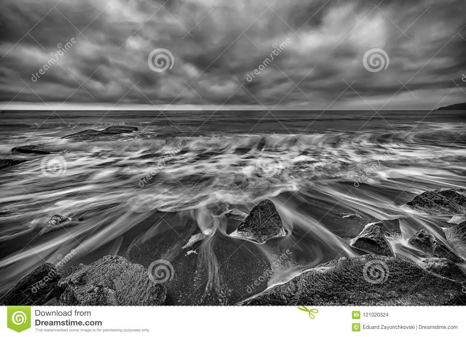 Stunning black and white seascape stock photo image of background