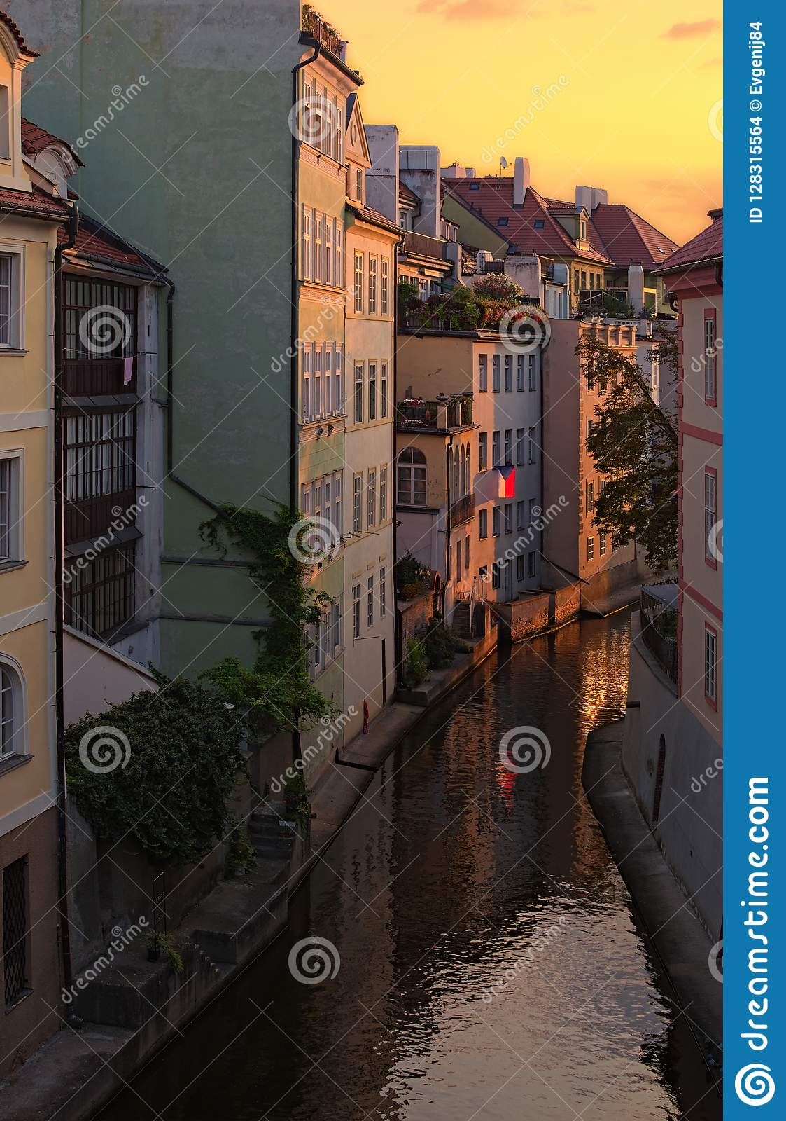 Stunning cityscape of Kampa Island with Certovka River in Old Prague during summer sunrise. Prague, Czech Republic