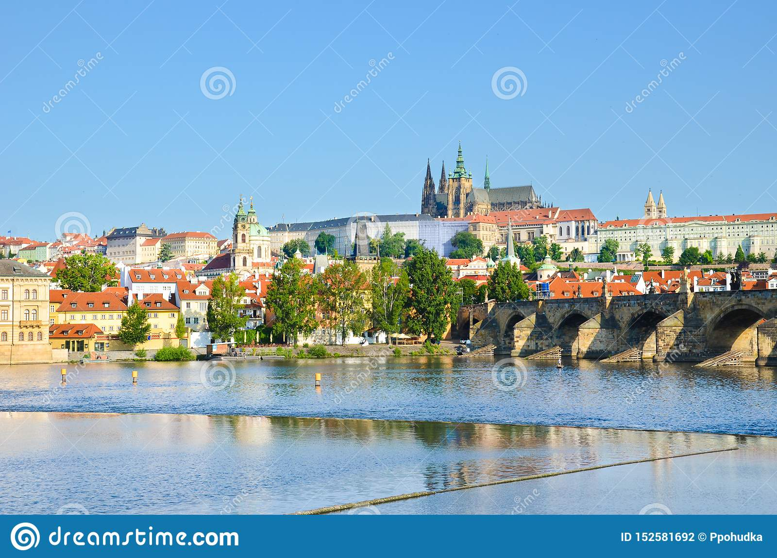 Stunning cityscape of Prague, Bohemia, Czech Republic photographed with dominant Prague Castle and Charles Bridge. The beautiful