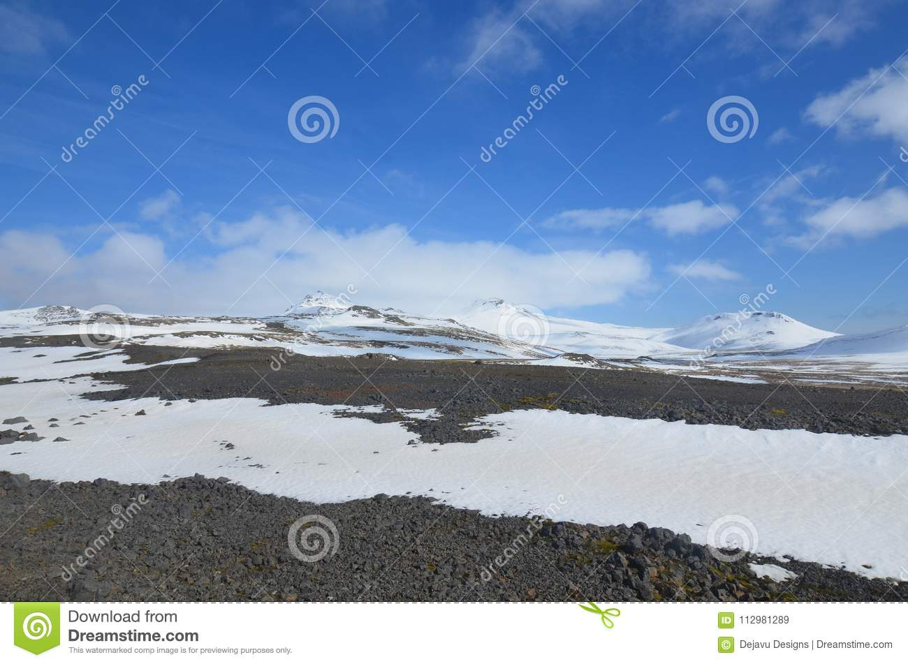 Stunning landscape of glaciers and snowcapped mountains in Iceland