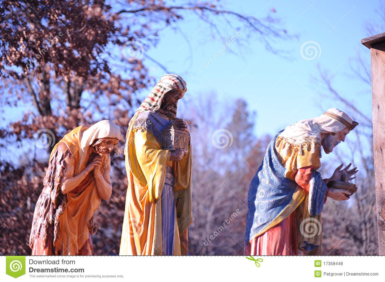 Stunning life size nativity scene three wise men royalty free stock