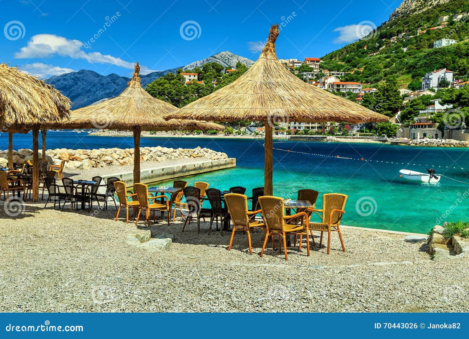 Stunning Outdoor Tropical Beach Bar Brela Dalmatia Croatia