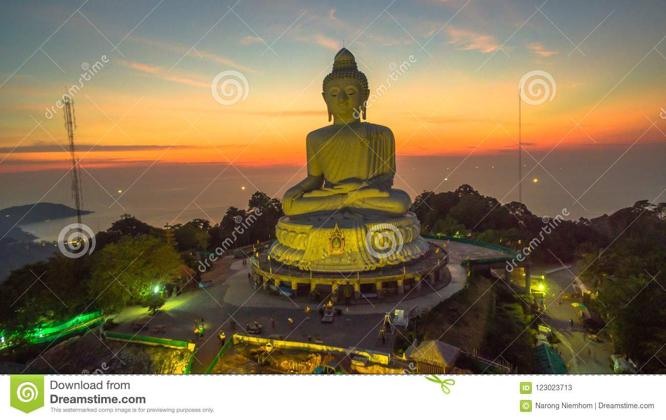 Stunning panoramic view Phuket white big Buddha landmark of Phuket island