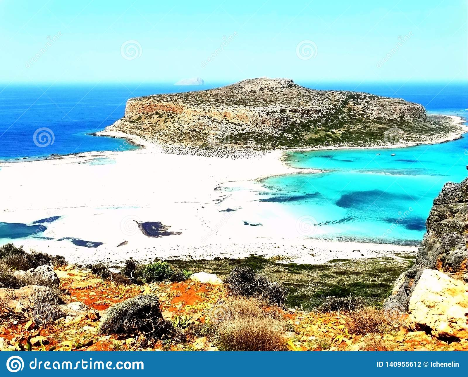 Stunning pink-blue beach and hiking landscape in Balos, Crete, Greece.