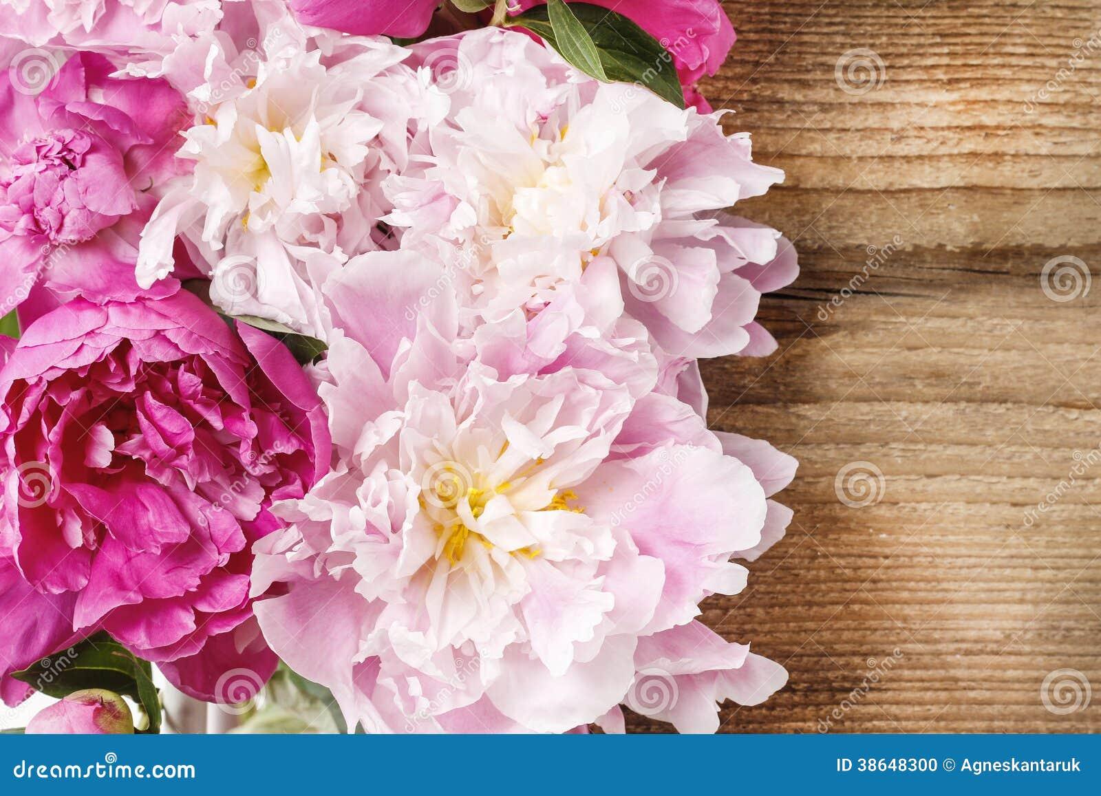 The Pink Peonies Stunning Pink Peonies On Rustic Wood Stock Photo  Image 40931662