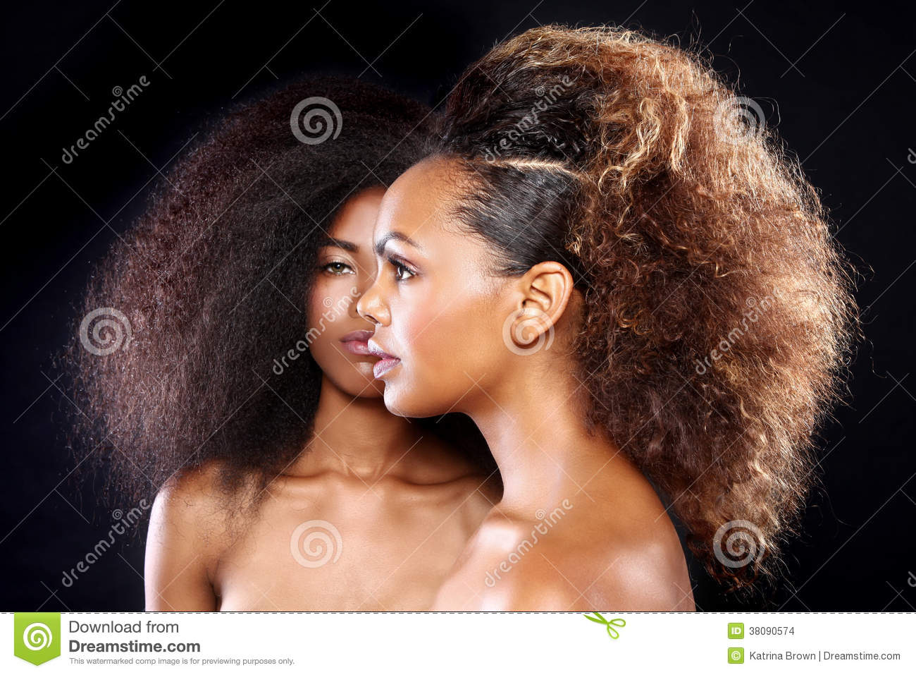 Stunning Portrait of Two African American Black Women With Big H