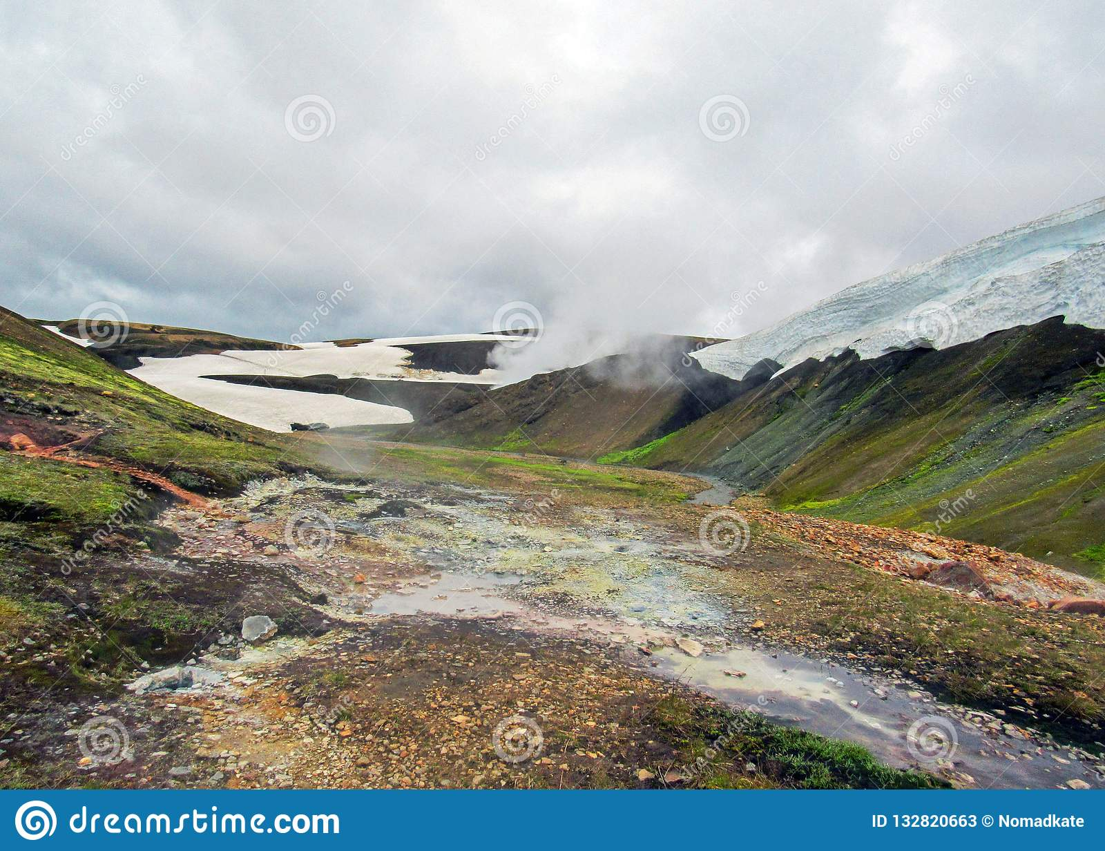 Landmannalaugar geothermal area with its steaming hot springs and colorful rhyolite mountains, Laugavegur Trek, Iceland