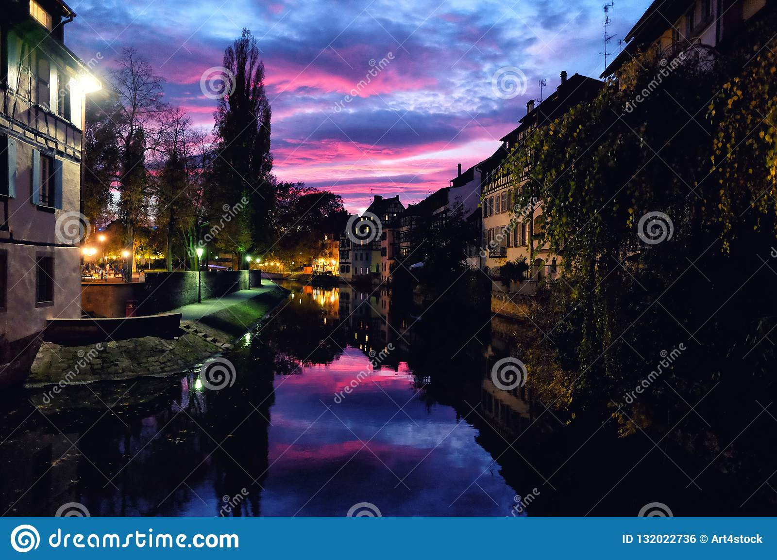 Sunset over Petite France district in Strasbourg, Germany