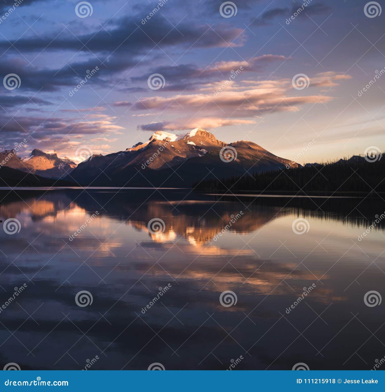 A stunning sunset over Maligne Lake of Jasper National Park